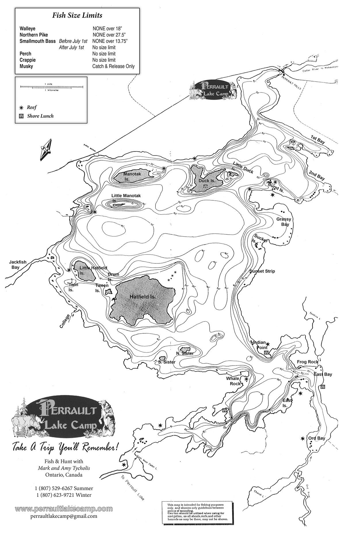 Map Of Perrault Lake Perrault Lake Camp - Ontario fishing lakes maps